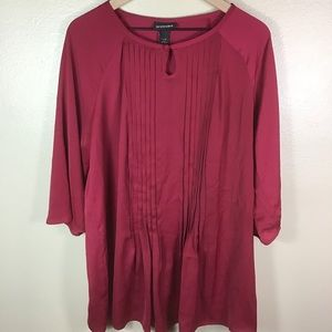 NWOT Lane Bryant Red Pleated Blouse